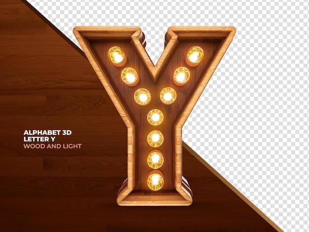 Lettera y 3d render legno con luci realistiche