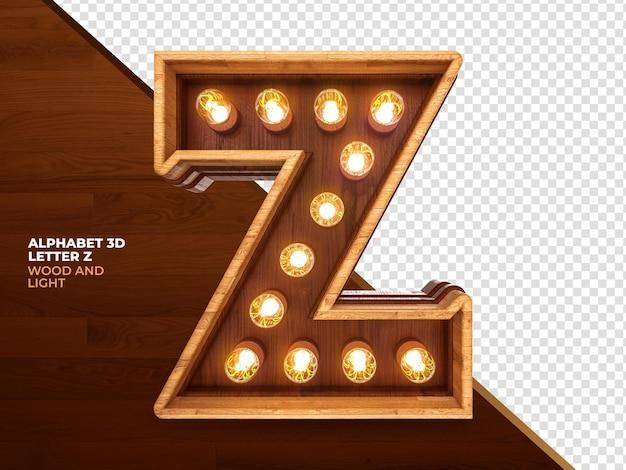 La lettera z 3d rende il legno con luci realistiche