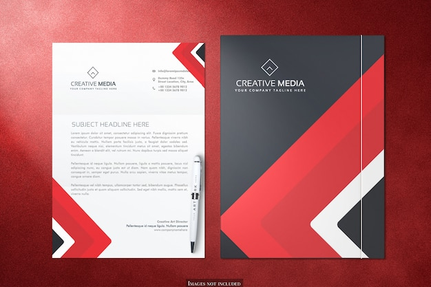 Mockup di carta intestata e cartelle