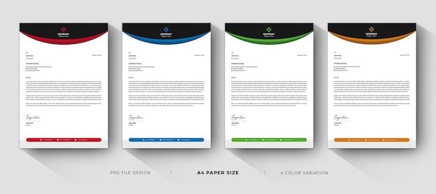 Modelli di carta intestata design professionale con variazione di colore