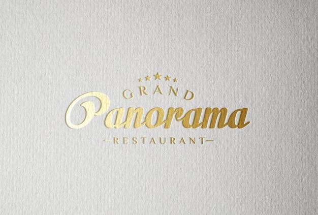 Stampa tipografica con stampa in lamina d'oro logo mockup