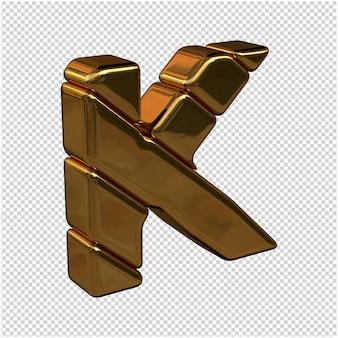 Lettere fatte di lingotti d'oro girate a destra su uno sfondo trasparente. 3d lettera maiuscola k
