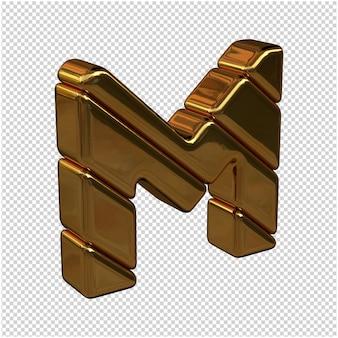 Lettere fatte di lingotti d'oro girate a destra su uno sfondo trasparente. lettera maiuscola 3d m