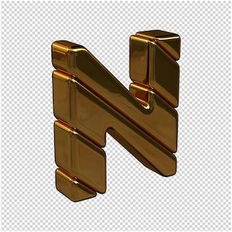Lettere fatte di lingotti d'oro girate a destra su uno sfondo trasparente. lettera maiuscola 3d n