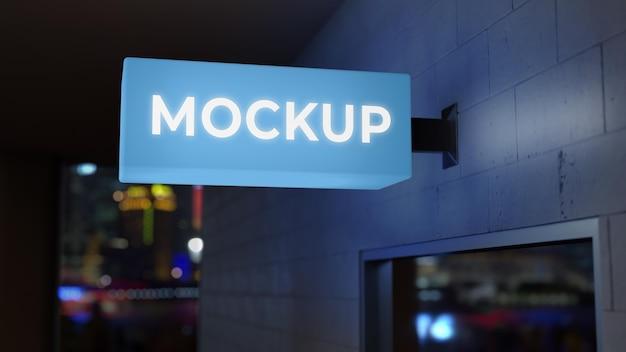 Mock-up di segno di affari notturni blu chiaro