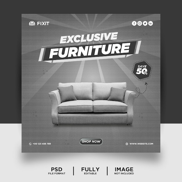 Banner di post sui social media del prodotto di marca di mobili di colore grigio chiaro