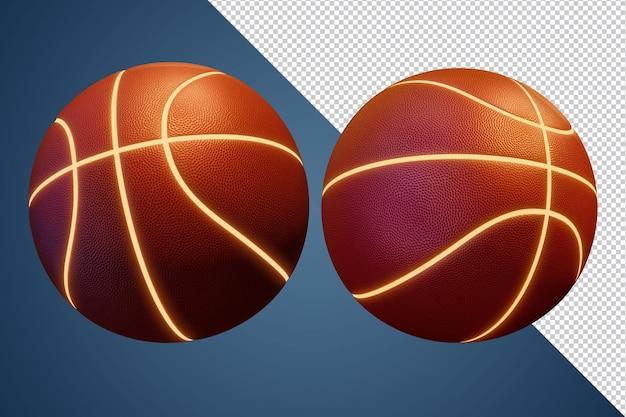 Rendering 3d di pallacanestro di linea leggera isolato