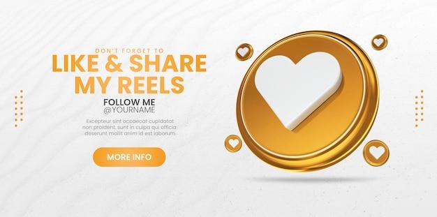 Mi piace e condividi con le icone di rendering 3d modello di banner di social media