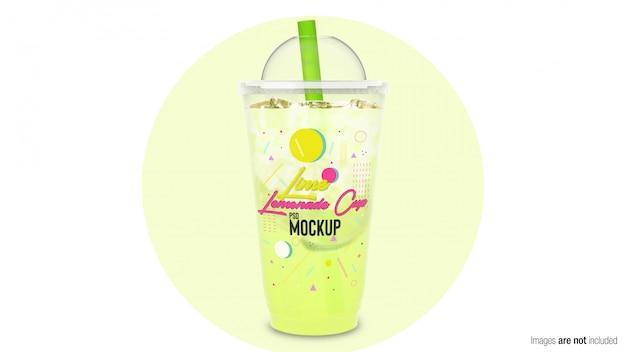 Limonata al lime in un contenitore di plastica