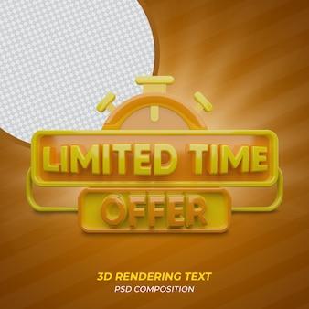 Offerta a tempo limitato testo di rendering 3d di colore arancione