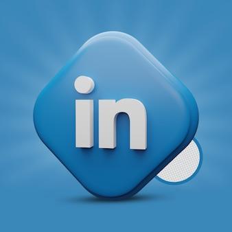 Rendering dell'icona 3d di linkedin