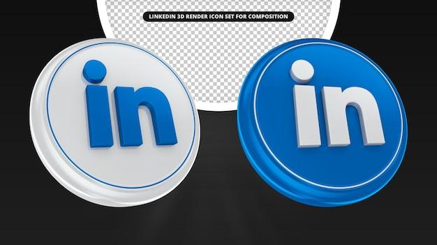 Linkedin 3d render icon set per la composizione