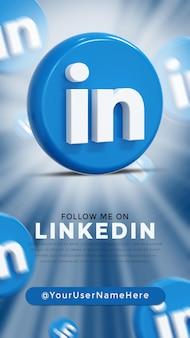Logo lucido di linkedin e icone dei social media story