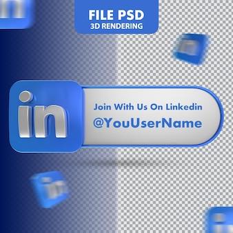 Icona linkedin 3d rendering banner