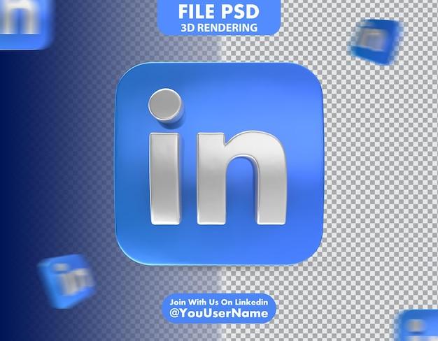 Icona linkedin 3d rendering