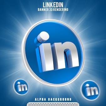 Creatore di scene di rendering 3d dell'icona del logo di linkedin isolato