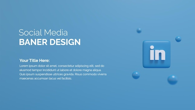 Icona del logo linkedin sullo sfondo del rendering 3d del pulsante