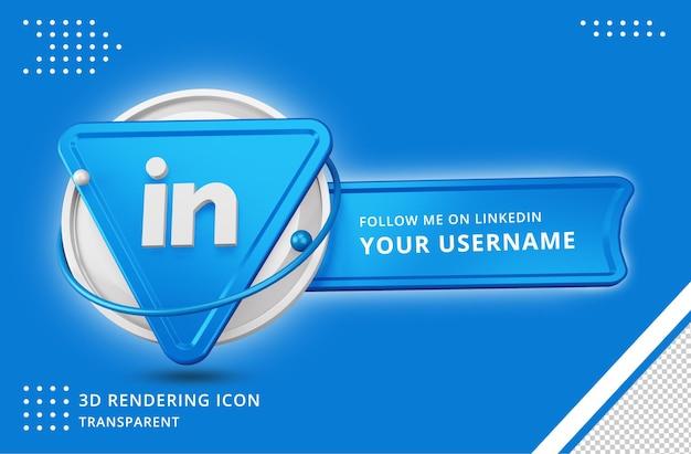 Icona del profilo linkedin nel rendering 3d