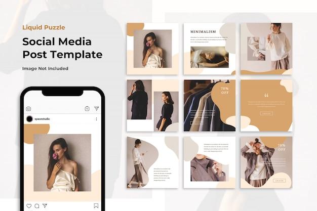 Modelli di instagram di media sociali marrone pastello liquido moda banner