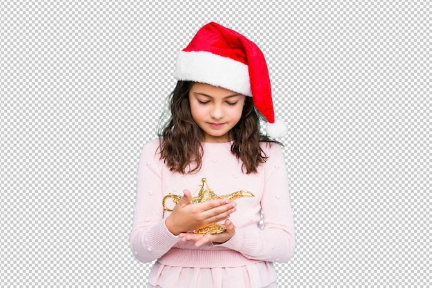 Bambina che chiede un wishe che celebra il giorno di natale