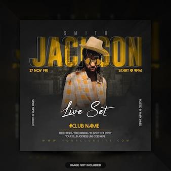Banner di post sui social media per concerti di musica dal vivo dj party flyer