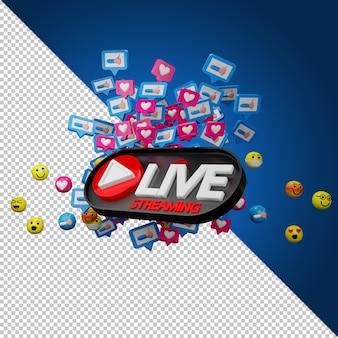 Segno di flusso live ed icone di emozione nel rendering 3d