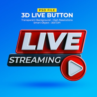 Distintivo 3d in streaming live isolato