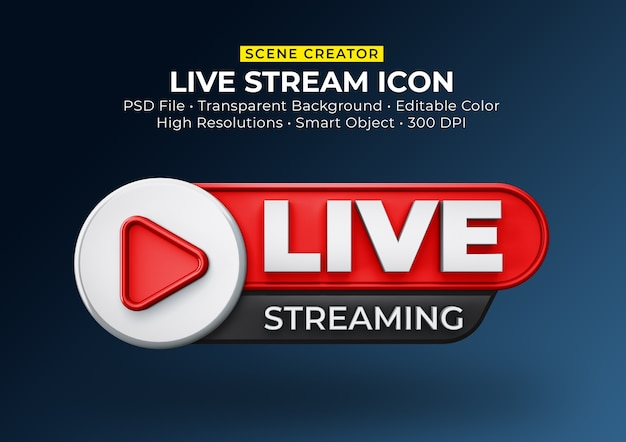 Distintivo dell'icona di rendering 3d in streaming live isolato