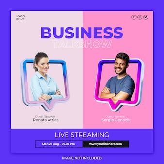 Talkshow aziendale in live streaming e modello di post sui social media aziendali