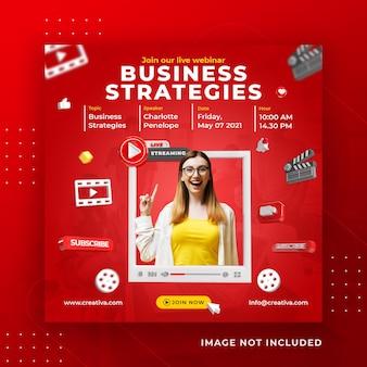 Modello di post instagram di social media in live streaming business workshop