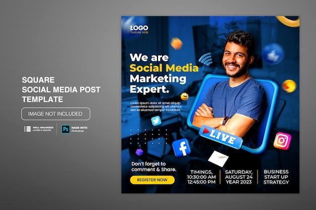 Modello di post instagram di social media per workshop aziendali in live streaming