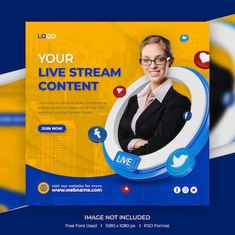 Streaming live modello di post instagram social media concept creativo