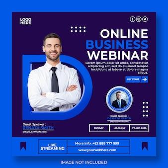 Webinar online in live streaming e modello di post sui social media