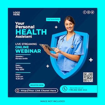Webinar in live streaming consultazione salute e modello di post sui social media