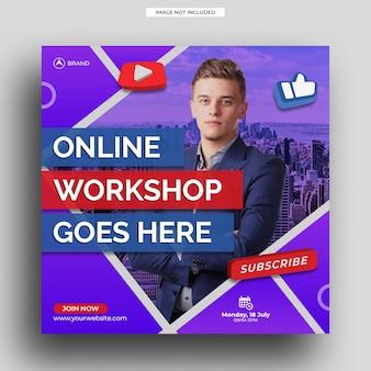 Workshop di live streaming modello di post di instagram modello di volantino quadrato