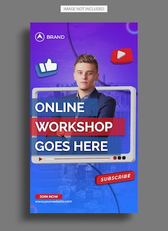 Modello di storia di instagram per workshop in live streaming