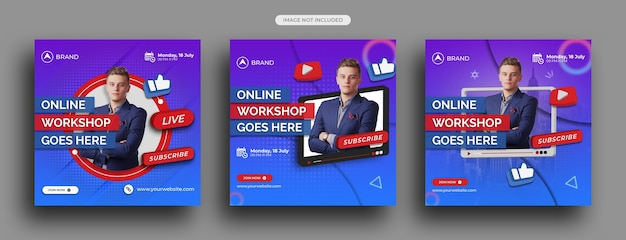 Workshop di live streaming post sui social media, modello di post instagram