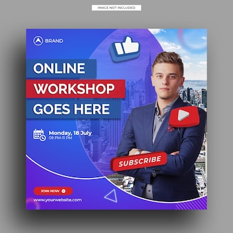 Modello di banner quadrato per social media post template live streaming workshop
