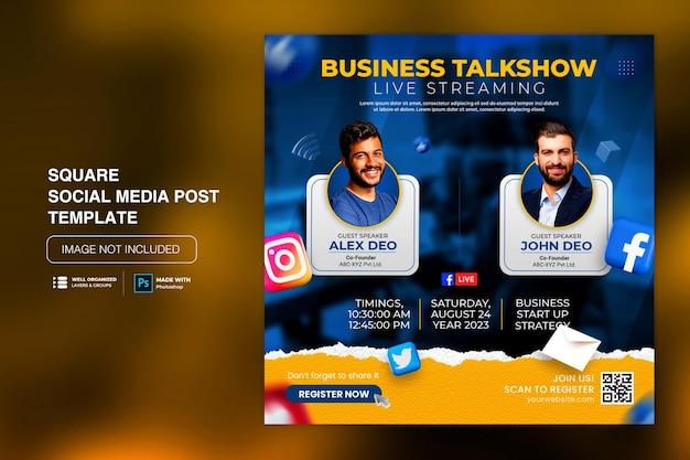 Modello di post sui social media per workshop in live streaming streaming