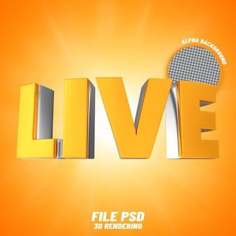 Rendering 3d in oro con testo live