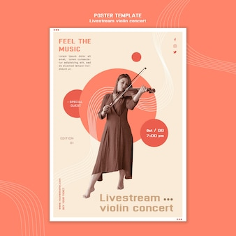 Livestream modello di poster per concerti di violino