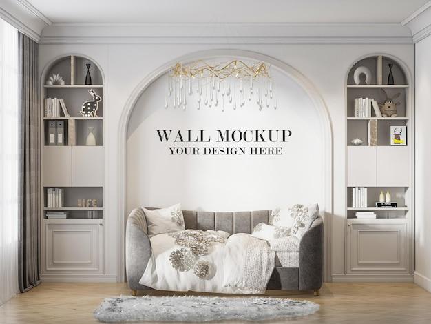 Mockup di parete a forma di arco del soggiorno