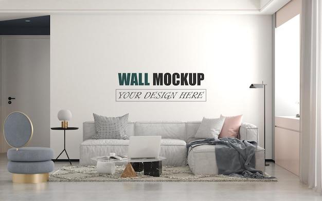 Soggiorno decorato moderno e carino mockup a parete