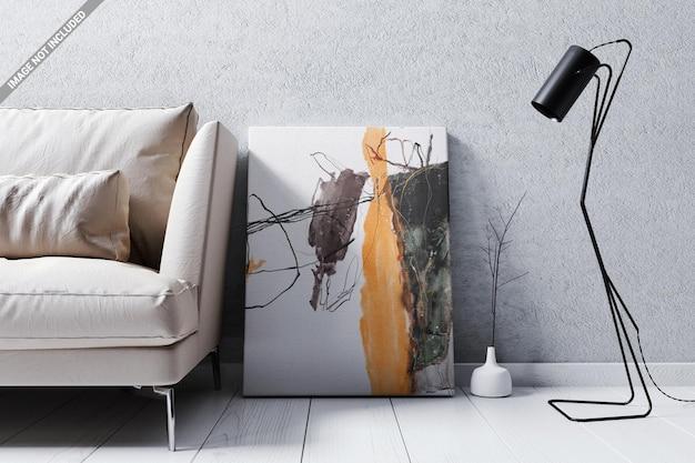Mockup di poster per pavimento del soggiorno