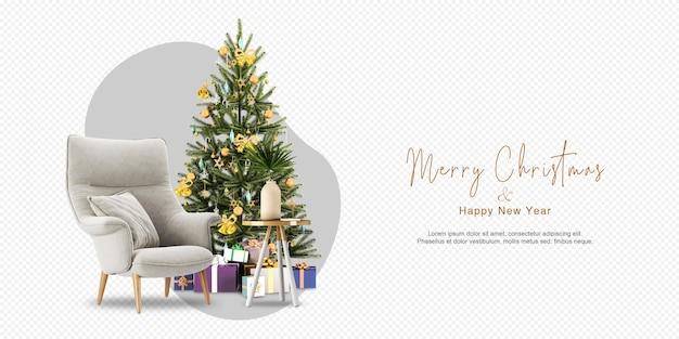Il soggiorno ha un albero di natale e una poltrona in rendering 3d