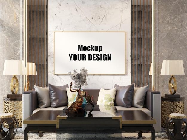 Soggiorno interno casa pavimento modello sfondo mock up design copia spazio 3d render