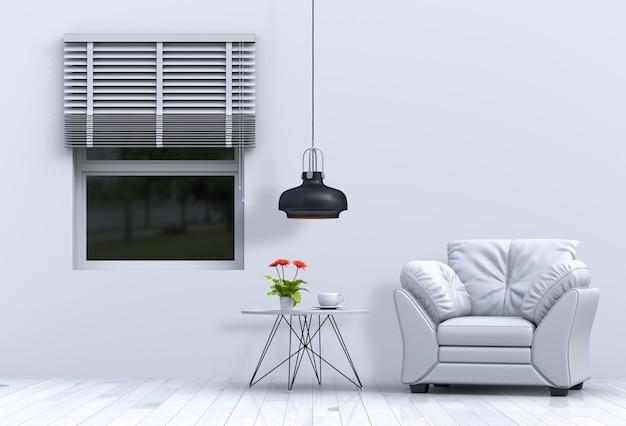 Interiore del salone in stile moderno con divano e rendering di decorazioni
