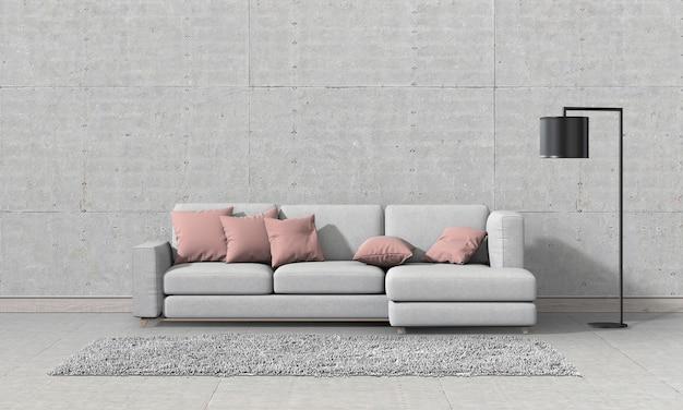 Interno soggiorno in stile moderno con divano