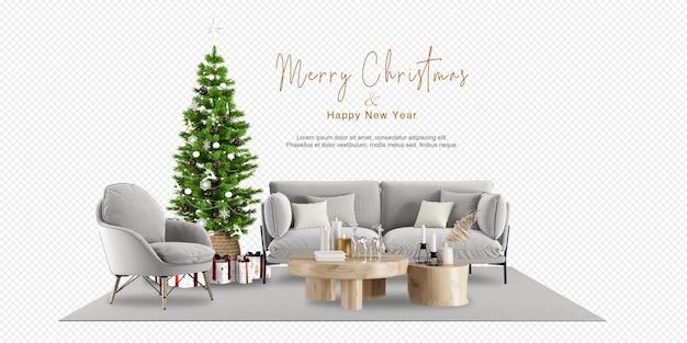 Interno del soggiorno con albero di natale e divano