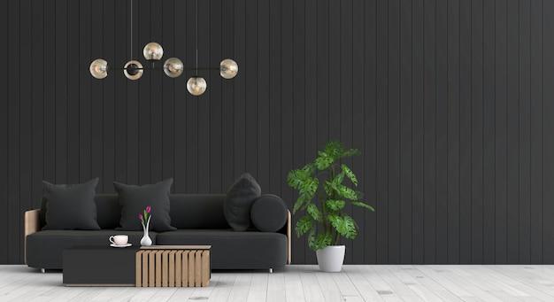 Interiore del soggiorno con divano in rendering 3d